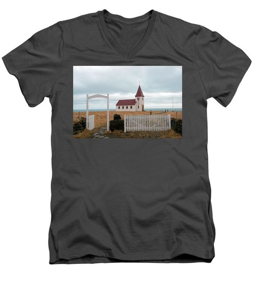 Men's V-Neck T-Shirt featuring the photograph A Church With No Fence by Dubi Roman