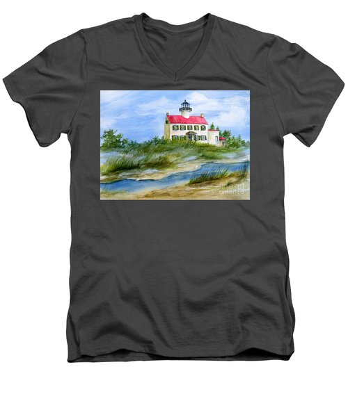 A Clear Day At East Point Lighthouse Men's V-Neck T-Shirt by Nancy Patterson