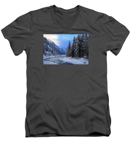 A Cold Winter Day Version 2 Men's V-Neck T-Shirt by Lynn Hopwood
