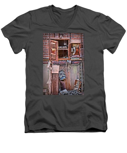 Men's V-Neck T-Shirt featuring the photograph A Collaboration Of Rust by DJ Florek