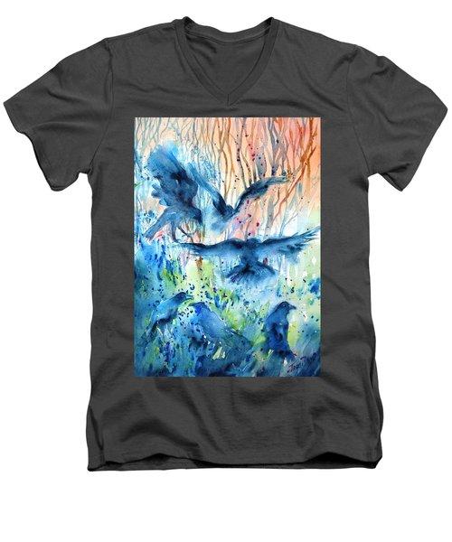 A Conspiracy Of Ravens  Men's V-Neck T-Shirt by Trudi Doyle