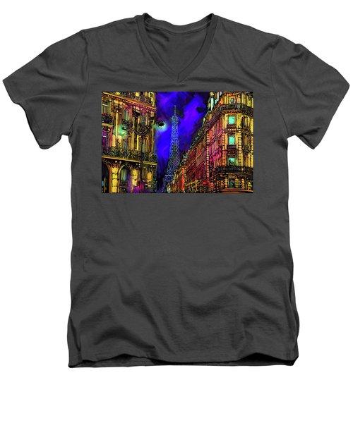 A Corner In Paris Men's V-Neck T-Shirt by DC Langer