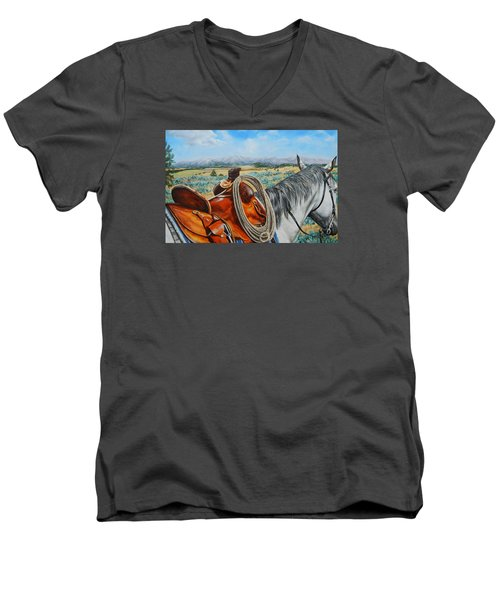 A Cowboy's View Men's V-Neck T-Shirt