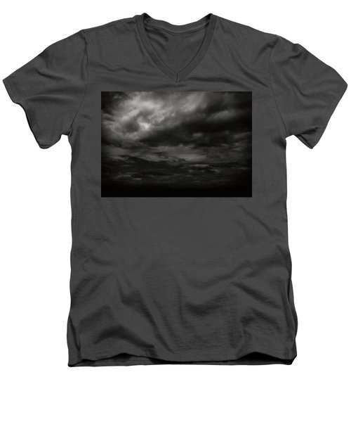 A Dark Moody Storm Men's V-Neck T-Shirt by John Norman Stewart