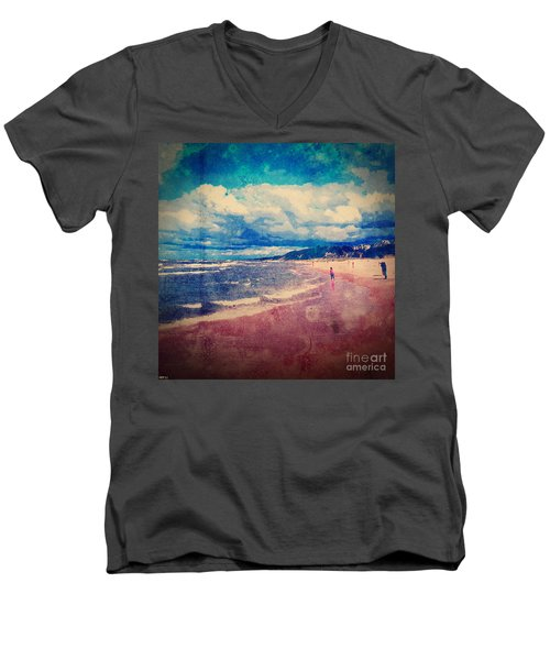Men's V-Neck T-Shirt featuring the photograph A Day At The Beach by Phil Perkins