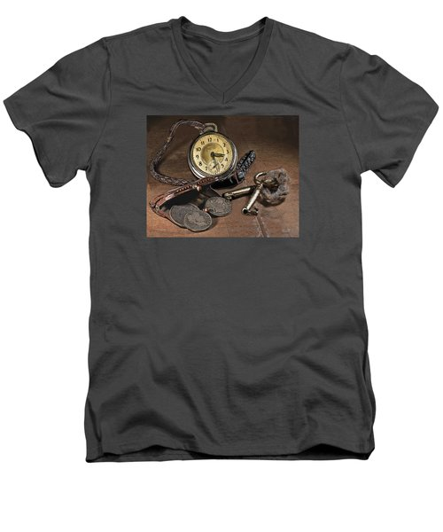 Men's V-Neck T-Shirt featuring the painting A Different Time by Mark Allen