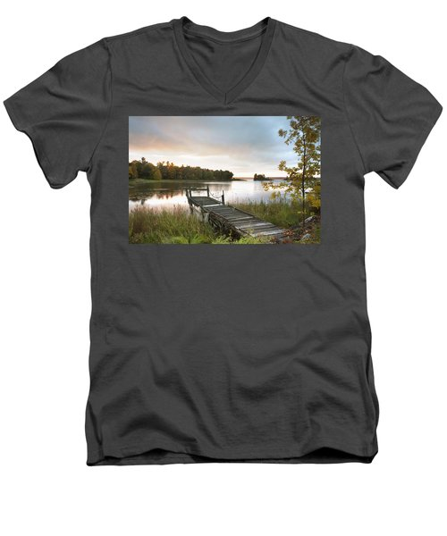 Men's V-Neck T-Shirt featuring the photograph A Dock On A Lake At Sunrise Near Wawa by Susan Dykstra