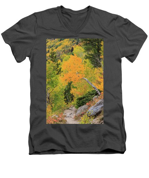 Men's V-Neck T-Shirt featuring the photograph Yellow Drop by David Chandler