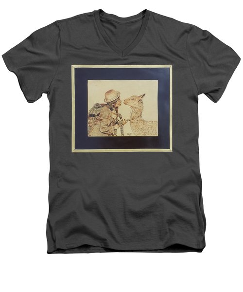 A Door To The Andean Heart Men's V-Neck T-Shirt by Pamela Puch Santillan