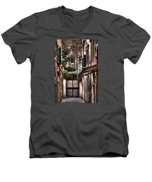 Men's V-Neck T-Shirt featuring the photograph A Doorway In Venice With Oil Effect by Tom Prendergast