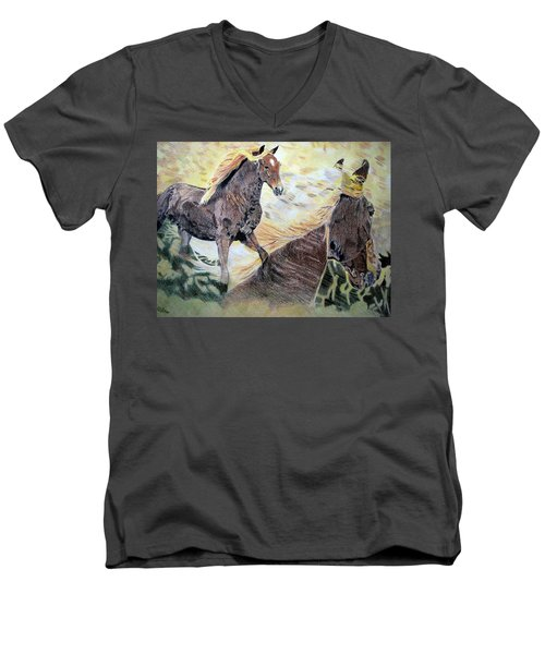 Men's V-Neck T-Shirt featuring the drawing A Dream by Melita Safran