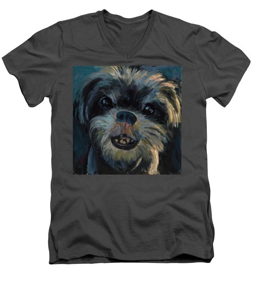 Men's V-Neck T-Shirt featuring the painting A Face Only A Mother Could Love by Billie Colson