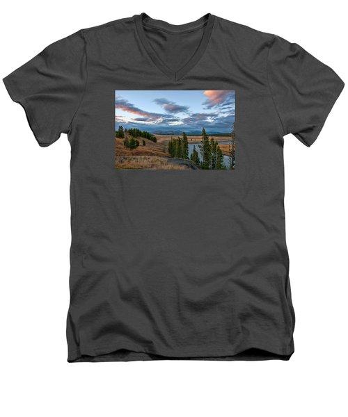 A Fall Evening In Hayden Valley Men's V-Neck T-Shirt by Steve Stuller
