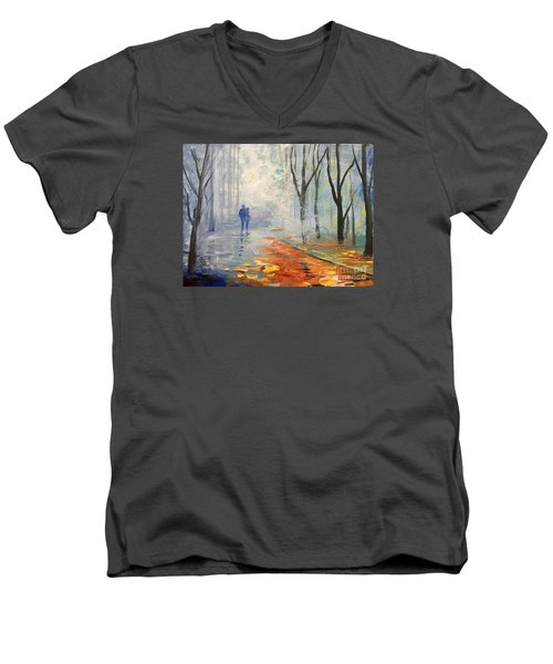 Men's V-Neck T-Shirt featuring the painting A Fall Walk by Trilby Cole