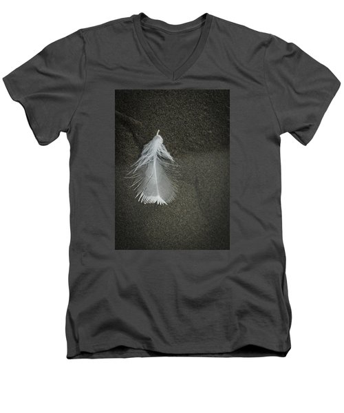 A Feather At The Edge Of The Water Men's V-Neck T-Shirt