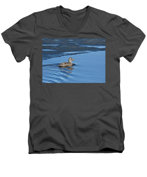 Men's V-Neck T-Shirt featuring the photograph A Female Mallard In Thunder Bay by Michael Peychich
