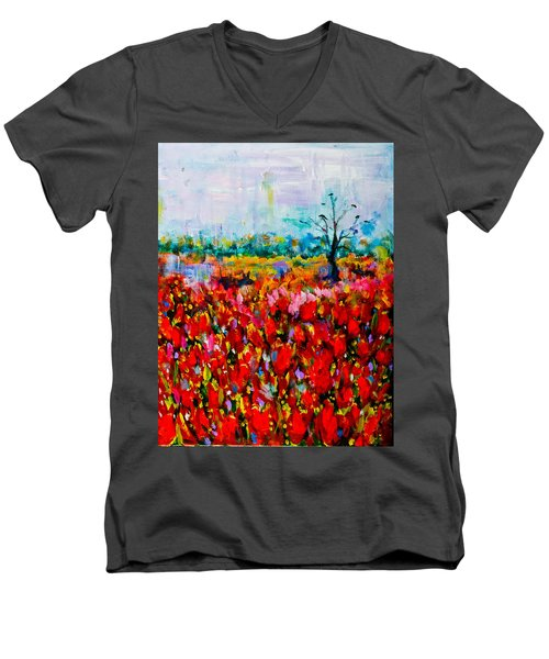 A Field Of Flowers # 2 Men's V-Neck T-Shirt by Maxim Komissarchik