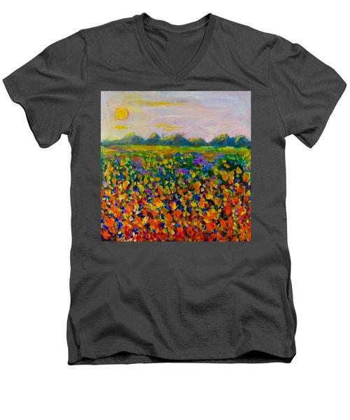 A Field Of Flowers #1 Men's V-Neck T-Shirt by Maxim Komissarchik