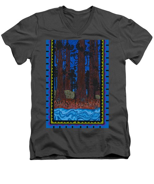 Men's V-Neck T-Shirt featuring the painting A Forest Whispers by Chholing Taha
