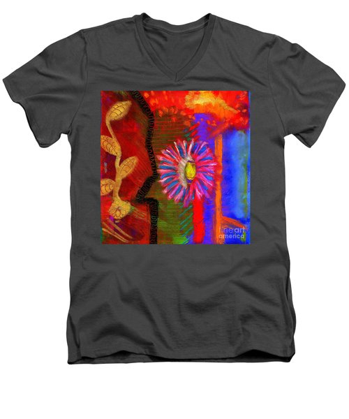 Men's V-Neck T-Shirt featuring the painting A Flower For You by Angela L Walker