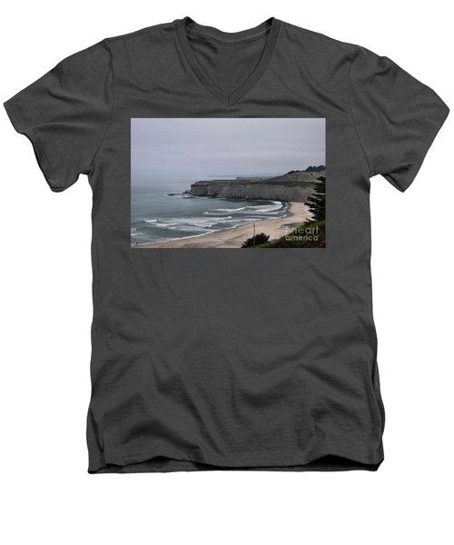 A Foggy Day On Hwy 1 Men's V-Neck T-Shirt