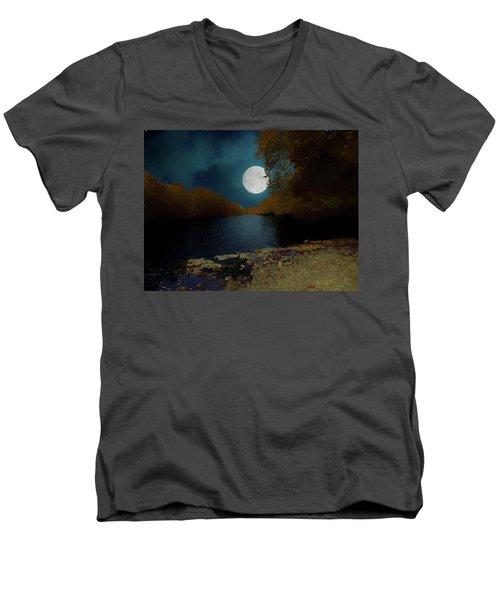 A Full Moon On A River. Men's V-Neck T-Shirt