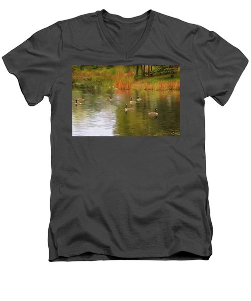 A Gaggle Of Geese Men's V-Neck T-Shirt by Cedric Hampton