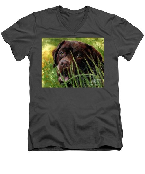 Men's V-Neck T-Shirt featuring the painting A Gardener's Friend by Molly Poole
