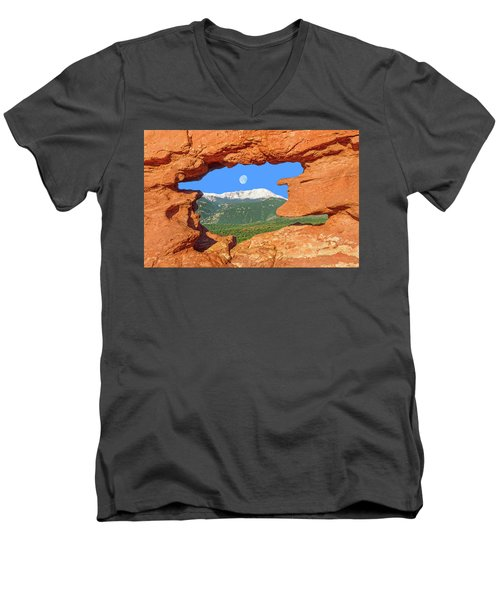 A Glimpse Of The Mighty Rockies Through A Rocky Window  Men's V-Neck T-Shirt
