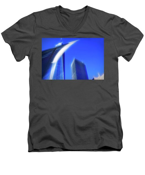 A Glimpse Of The Oculus - New York's Financial District Men's V-Neck T-Shirt