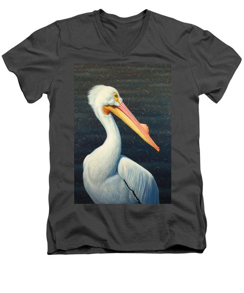 A Great White American Pelican Men's V-Neck T-Shirt by James W Johnson