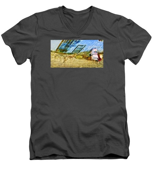 Men's V-Neck T-Shirt featuring the photograph A Hard Day by Cameron Wood