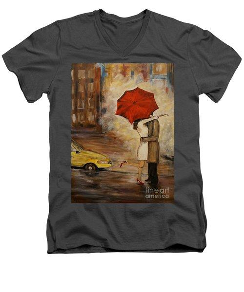 A Hello Kiss Men's V-Neck T-Shirt by Leslie Allen