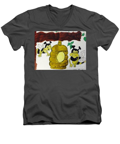 A Honey And The Bees Men's V-Neck T-Shirt
