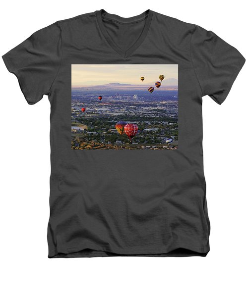 A Hot Air Ride To Albuquerque Cropped Men's V-Neck T-Shirt by Daniel Woodrum