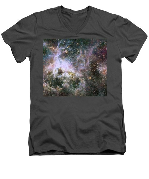 Men's V-Neck T-Shirt featuring the photograph A Hubble Infrared View Of The Tarantula Nebula by Nasa