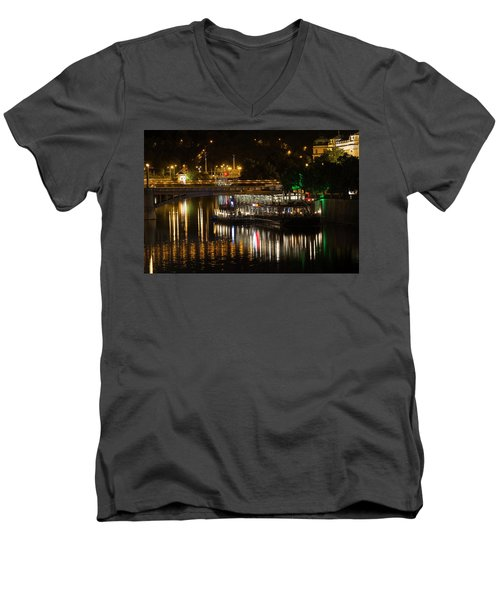 Men's V-Neck T-Shirt featuring the photograph A Light Dinner by Alex Lapidus