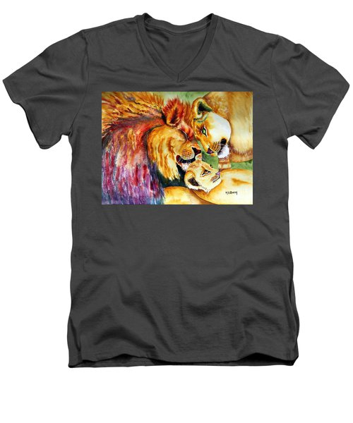 Men's V-Neck T-Shirt featuring the painting A Lion's Pride by Maria Barry