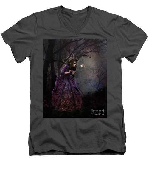 Men's V-Neck T-Shirt featuring the digital art A Little Bird Told Me by Shanina Conway