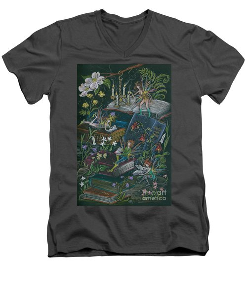 Men's V-Neck T-Shirt featuring the drawing A Little Light To Read By by Dawn Fairies