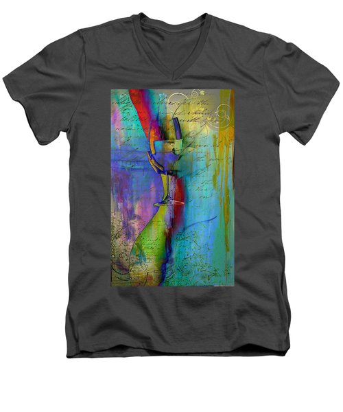 Men's V-Neck T-Shirt featuring the digital art A Little Wining by Greg Sharpe