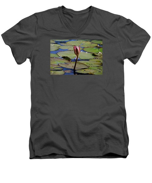 Men's V-Neck T-Shirt featuring the photograph A Lonely Vigil by Michiale Schneider