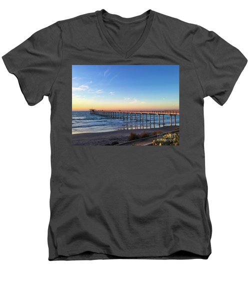 A Long Look At Scripps Pier At Sunset Men's V-Neck T-Shirt