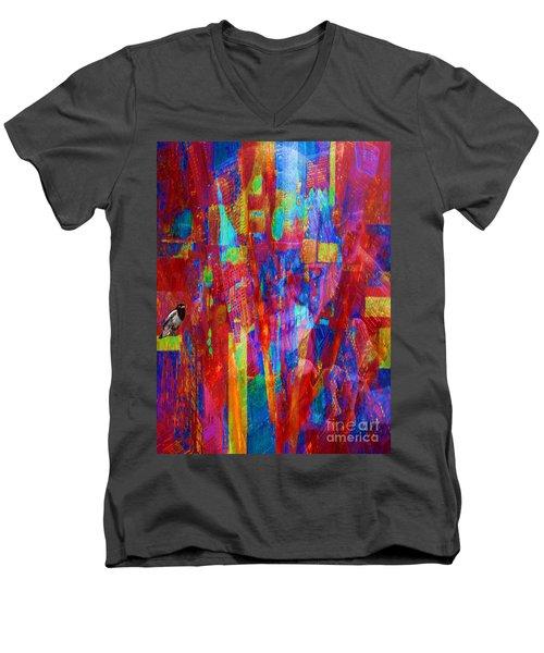 A Magpie At Wallstreet Men's V-Neck T-Shirt