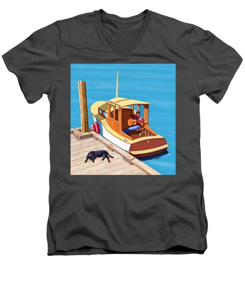 A Man, A Dog And An Old Boat Men's V-Neck T-Shirt