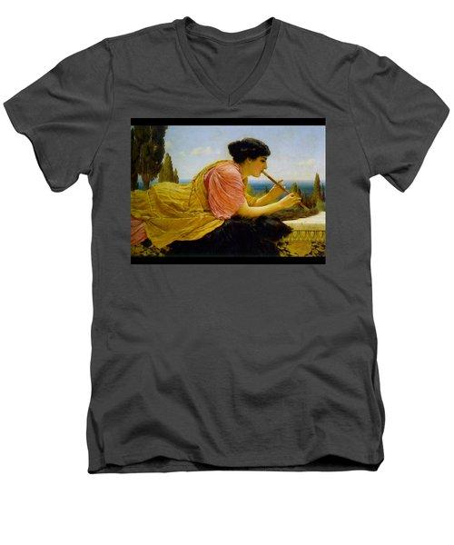 A Melody  Men's V-Neck T-Shirt by John William Godward