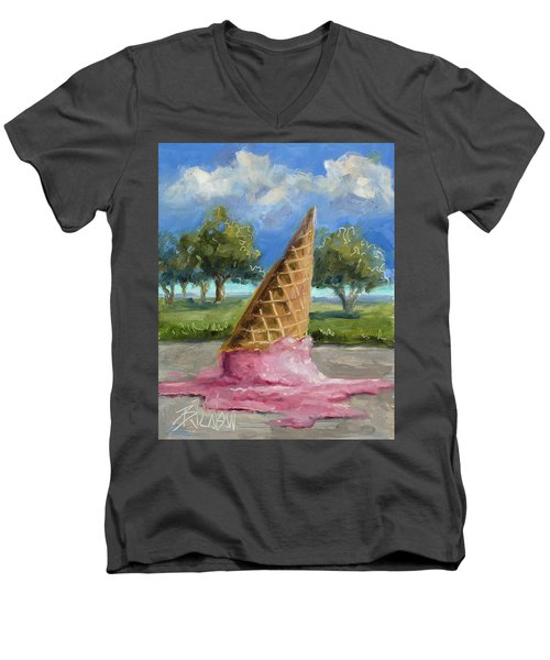 Men's V-Neck T-Shirt featuring the painting A Mid Summer Tragedy by Billie Colson