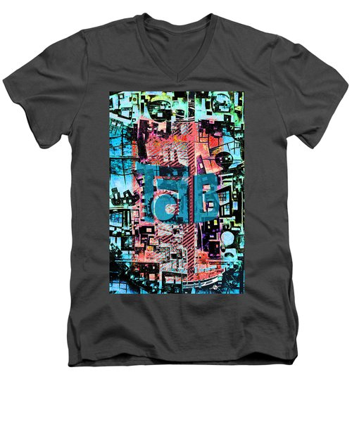 Men's V-Neck T-Shirt featuring the mixed media A Million Colors One Calorie by Tony Rubino