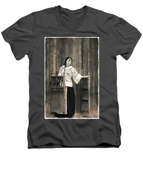 A Model In A Period Costume. Men's V-Neck T-Shirt