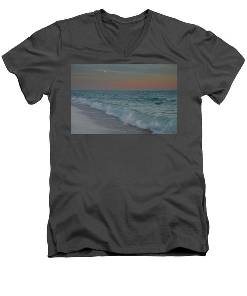 Men's V-Neck T-Shirt featuring the photograph A Moonlit Evening On The Beach by Renee Hardison